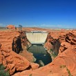 Red cliffs and Glen Canyon Dam — Stock Photo