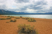 Empty beach on Lake Tahoe — Stock Photo