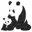 China panda made of ecology icons — Stock Vector