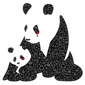 China panda made of ecology icons — Stock Vector