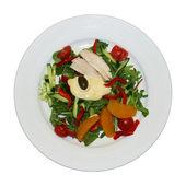 鸡肉与橙色和芝麻菜沙拉蔬菜沙拉 — 图库照片