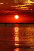Red sunset in the Venetian lagoon, Italy — Stock Photo