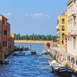 Canal in Venice and motorboats, Italy, Europe — Stock Photo #37495871