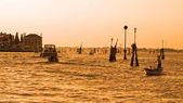 Boat at sunset, Venice, Italy — Stock Photo