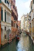 Gondola on the narrow canals of Venice, Italy, Europe — Stock Photo