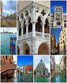 Collage of landmarks in Venice, Italy. — Stock Photo