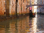 Gondolas and canals in Venice, Italy — Stock Photo