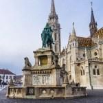 Постер, плакат: Matthias Church and King St Stephen I monument in Budapest Hun
