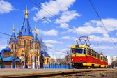 Red retro tram — Stock Photo