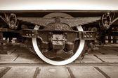 Chassis retro tram closeup — Stock Photo