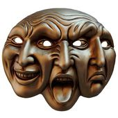 Carnival mask three faces (different mapping of human emotions) — Stock Photo