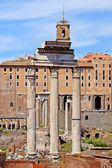 Roman forum, view of the Temple of Romulus  from the Palatine Hi — Stock Photo