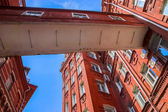 Old factory facades of red brick — Stock Photo
