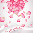 Heart made of rose petals Saint Valentine's Day Card — Stock Photo