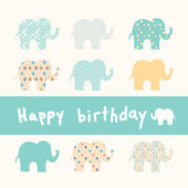 Happy Birthday card with elephants — Stock Vector