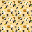 Cute seamless pattern with bees, honey and chamomiles — Stock Photo #39712967