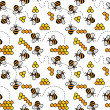 Cute seamless pattern with bees, honey and chamomiles — Stock Photo