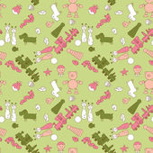 Seamless pattern set with toys for boy illustration — Stock Photo