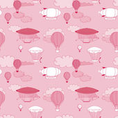 Retro dirigible seamless pattern. Seamless kid hand-drawn pattern for your design. — Stockfoto