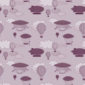 Retro dirigible seamless pattern. Seamless kid hand-drawn pattern for your design. — ストック写真