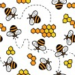 Cute seamless vector pattern with bees and honey — Vector de stock