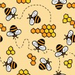 Cute seamless vector pattern with bees and honey — Stock vektor