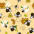 Cute seamless vector pattern with bees and honey — 图库矢量图片