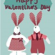 Cute cartoon romantic card in vector. Funny couple rabbits. — Stock Vector #39715489