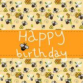 Joyeux anniversaire gris et jaune, carte de voeux pour les enfants. — Vecteur