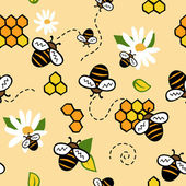 Cute seamless vector pattern with bees and honey — Stock Vector
