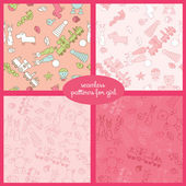 Seamless vector pattern set with toys for girl illustration — Stock Vector