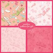 Бесшовные векторные шаблон набор с игрушками для иллюстрации девушка — Cтоковый вектор