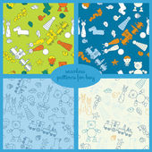 Seamless vector pattern set with toys for boy illustration — Stock Vector