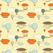 Retro dirigible seamless pattern. — Stockvector