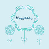 Template for Happy birthday card with place for text. Doodle flower. — Stock Vector