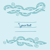 Blauwe cute cartoon doodle frame. — Stockvector