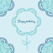Blue cute cartoon doodle frame. — Stock Vector