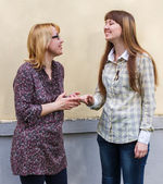 Mother talks to the daughter — Stock Photo
