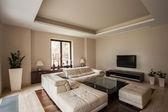 Travertine house: Modern living room — Stock Photo