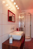 Ruby house - Wash basin and shower — Stock Photo
