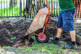 Emptying wheelbarrow — Stockfoto