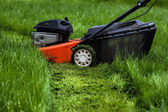 Lawn mower in garden — Stockfoto