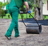 Lawn roller walk — Stock Photo