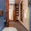 图库照片: Opened cosy bathroom