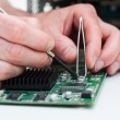 Printed curcuit board repair — Stock Photo