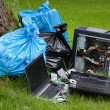 Computer Garbage on grass — Stock Photo