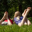 Children on the grass — Stock Photo