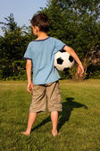 Boy with a football — Stock Photo