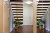Bright space - wooden stairway — Stock Photo