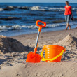 Sand toy set on the beach — Stock Photo